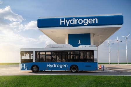 Fuel cell bus at the hydrogen filling station Standard-Bild