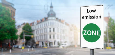 Road sign Low emission ZONE Stock Photo