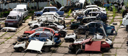 Recycling yard old cars