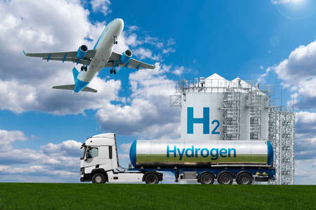 Airplane and truck with hydrogen tank trailer