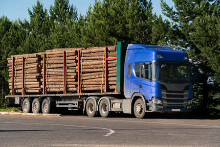 Truck with timber logs Stock Photo