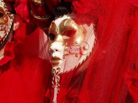 Carnival mascot parade at Piazza San Marco Venice, showing a red tulle dress with a white and gold mask.