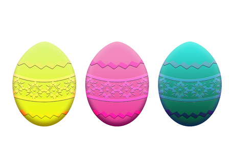 3 easter eggs, yellow, pink, green, with drawings of flowers and greeks