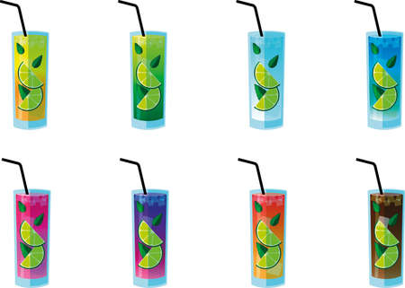 Many glasses with colorful drinks, a symbol of aperitifs in bars, pubs, restaurants or holidays
