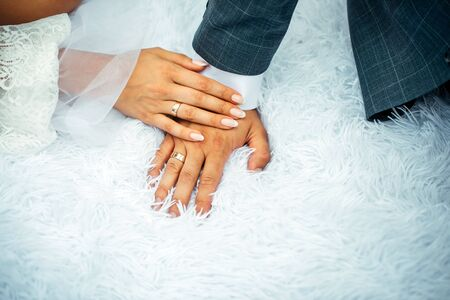 Bride and groom holding hands with woman's hand on man's hand with wedding rings, close up. Hands newlyweds in wedding day. Stylish photo. Zdjęcie Seryjne - 133064821