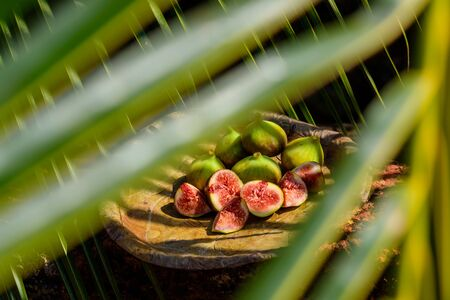 Figs among the leaves. Creative photography of tropical fruit in beautiful processing.