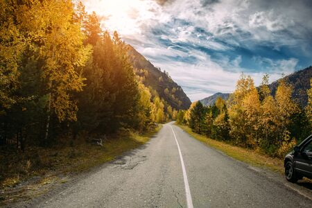 Asphalt mountain road among the yellow autumn birches and high rocks in bright rays of setting sun. Concept of active and automobile tourism. Reklamní fotografie