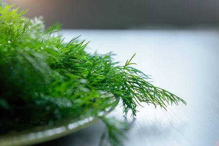 Fresh green dill branches, selective focus, close-up. Dill branches prepared for salad or freezing. Benefits of fresh greens for health.