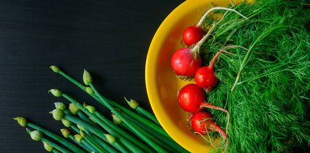 Fresh green onions, dill and radishes on black wooden background, top view. Copy space. Health benefits of fresh herbs and vegetables. Organic products, vegetarian food.