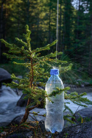 Plastic bottle with fresh icy drinking water on blur background of small tree and mountain river. Jet falls on the bottle, splashes fly and shine in the sun. Concept of pure natural water. 版權商用圖片