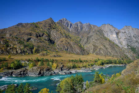 Colorful mountain landscape. River valley on sunny autumn day. Turquoise river on the background of rocks, forest and blue sky. Altai Republic, Russia.