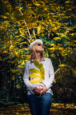 Blonde woman in white shirt and sunglasses walks in beautiful park on sunny autumn day. Young pretty woman holding branch with yellow leaves in her hand. Harmony with nature, benefits of vitamin D.