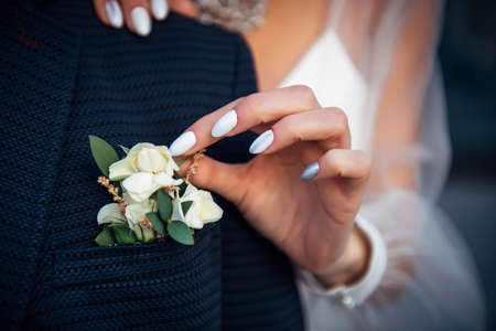 Bride's hand touches the buttonhole on the groom's jacket, close-up. Stylish suit, boutonniere of fresh flowers, woman's hand with a manicure. 免版税图像