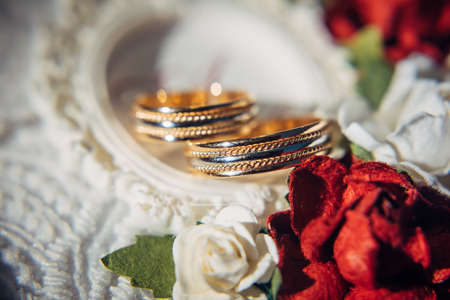 Wedding rings in white and yellow gold, close-up. Two rings for newlyweds, selective focus, blurry background.