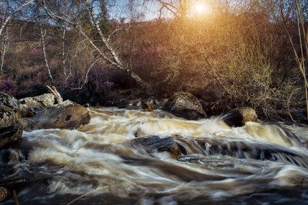 Mountain fast flowing river, running water between rocks in sunlight. Spring landscape with big stones in rapid creek. Foto de archivo