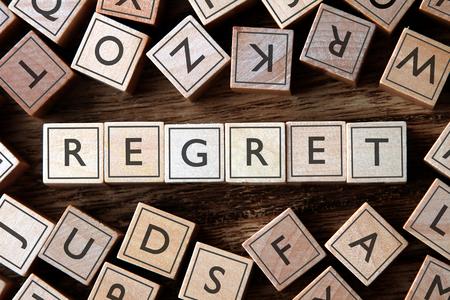 regret: the word of REGRET on building blocks concept
