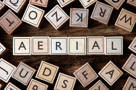 aerial: the word of AERIAL on building blocks concept Stock Photo