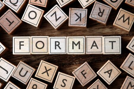 excel: the word of FORMAT on building blocks concept
