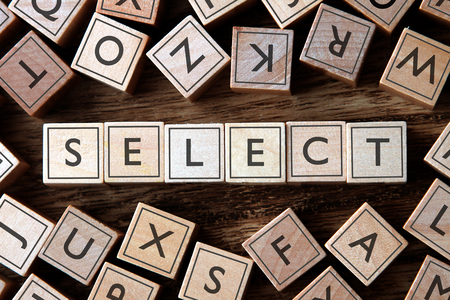 select: the word of SELECT on building blocks concept