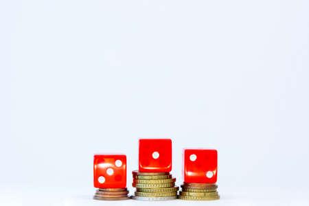 dice on money podium
