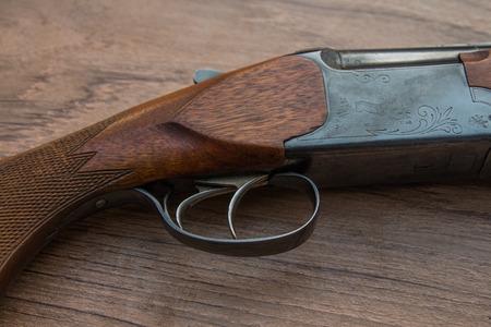 gun trigger: Wooden shotgun trigger