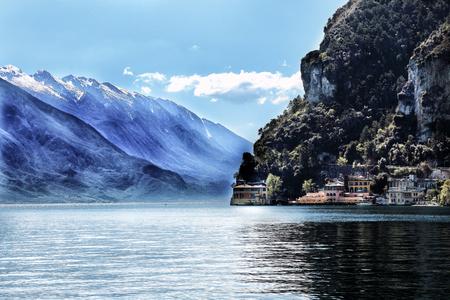 castle rock: Garda lake, italy,