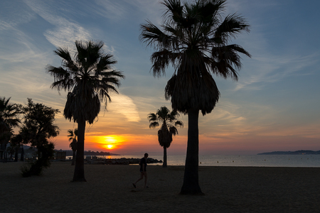 Sunrise on the beach in France, Saint-Tropez. Stock Photo