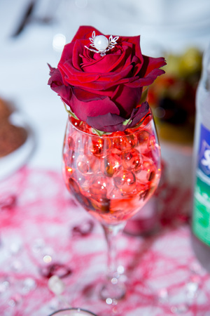 decorative roses in a vase on the table Stock Photo