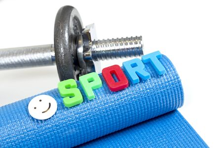Fitness accessories, Blue sport yoga  equipment, dumbbells glass of water