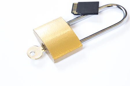 Padlock and USB flash drive Stock Photo