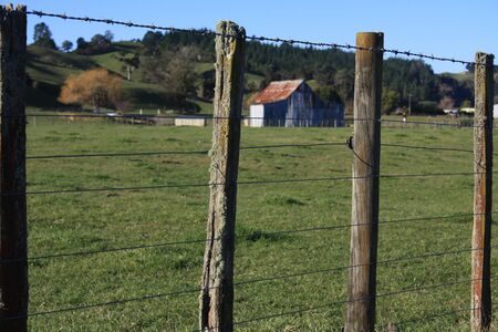 confined: Farm fence with barn in background