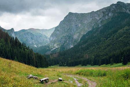 Scenic view of beautiful Rysy mountain in High Tatry, Poland and Slovakia near the Marine eye.