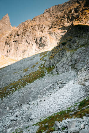 Close up of many stones on Tatra mountains in Poland. Fascination view of mighty rocks. Natural background and wallpaper.