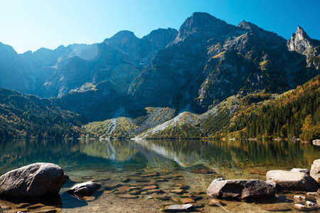 Amazing view of Morskie Oko lake and rocky mountains