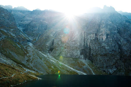 Amazing view of sunrise in rocky mountains of Tatra Park