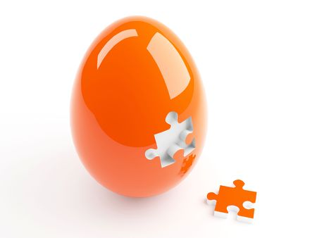Isolated Orange Easter Egg and Jigsaw Puzzle Stock Photo