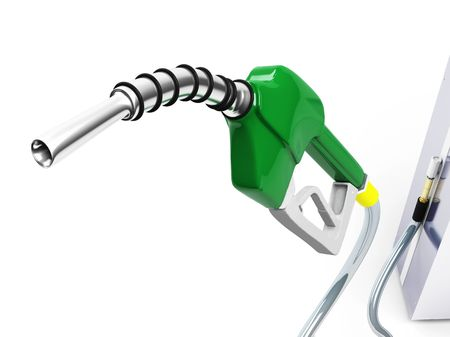 petrol pump: Isolated Green Gas Pump Nozzle Stock Photo