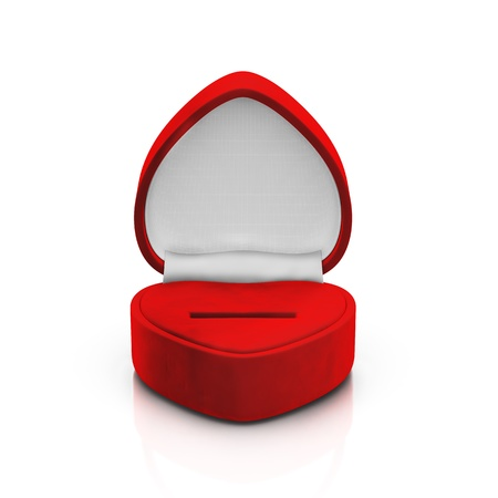 jewel case: Isolated empty red ring box on white background Stock Photo