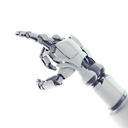 Isolated robotic pointing arm on white background photo