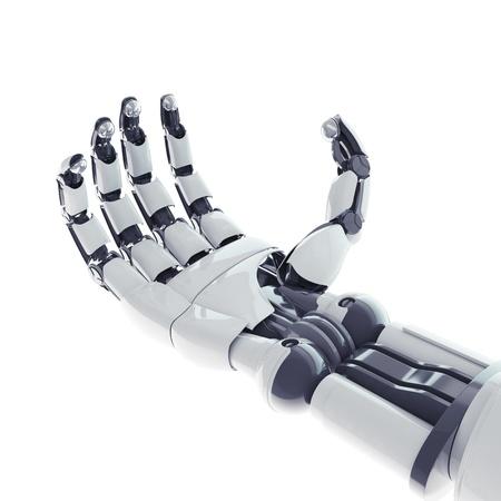 Geïsoleerde robotarm op een witte achtergrond Stockfoto