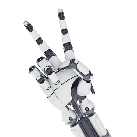 Isolated robotic arm showing victory on white background Stock Photo - 17545964