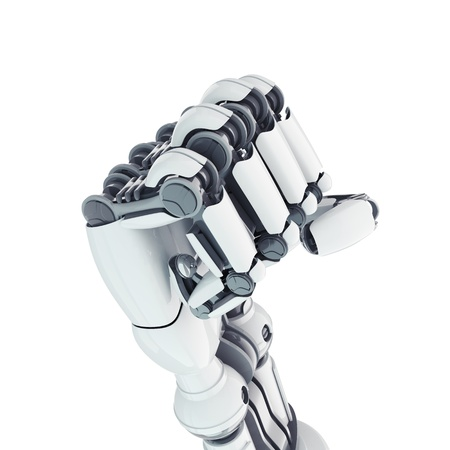 Isolated robotic fist on white background Stock Photo