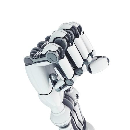robot: Pu�o aislado sobre fondo blanco rob�tica Foto de archivo