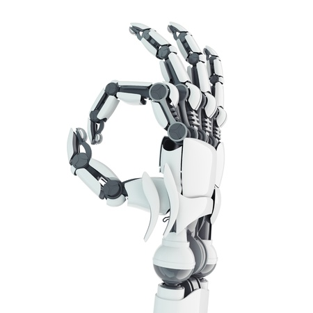 Isolated robotic arm showing Ok on white background photo