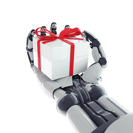 Isolated robotic arm with gift on white background Stock Photo