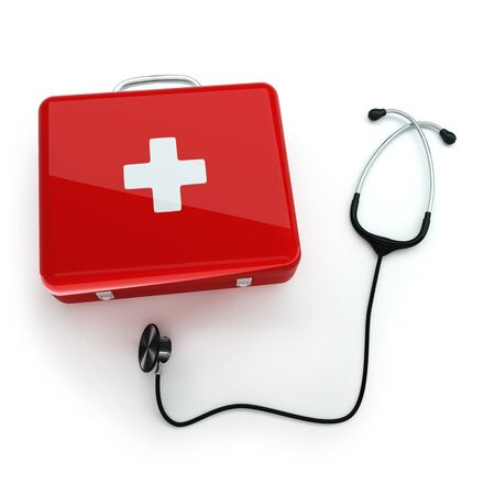 Isolated first aid kit and stethoscope on white background Stock Photo - 17697189