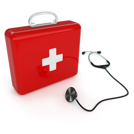 Isolated first aid kit and stethoscope on white background
