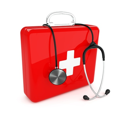 Isolated first aid kit and stethoscope on white background Stock Photo - 17697178