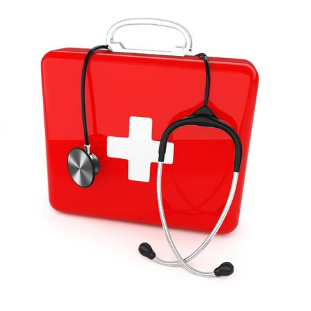 ailment: Isolated first aid kit and stethoscope on white background