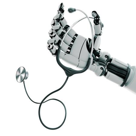mano robotica: Brazo rob�tico con el estetoscopio aislado sobre fondo blanco Foto de archivo